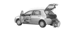 Toyota Allex WELCAB, PASSENGER SWIVEL SEAT, B TYPE 2001 г.