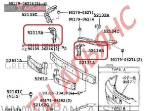 Крепление бампера на Toyota Mark II JZX110 1JZ-GTE